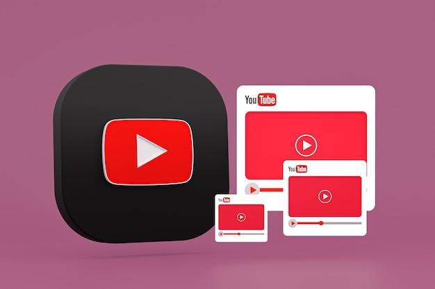 Logo youtube et lecteur vidéo conception 3d ou interface de lecteur multimédia vidéo