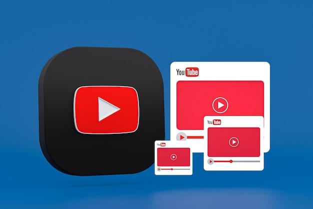 Logo youtube et lecteur vidéo design 3d ou interface de lecteur multimédia vidéo