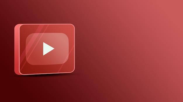 Logo youtube sur une plate-forme de verre 3d