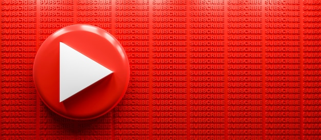 Logo youtube rendu 3d avec fond de texte d'abonnement