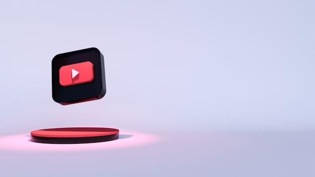 Logo youtube rendu 3d de près. modèle de promotion de chaîne youtube.
