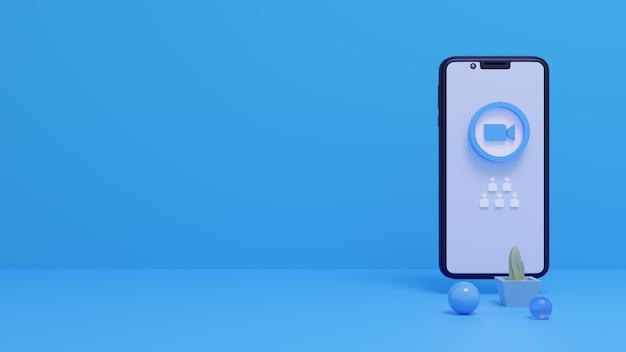 Logo zoom 3d sur l'écran du smartphone