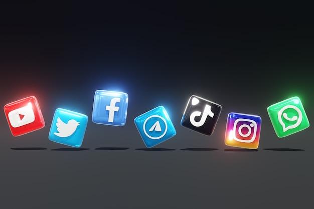 Logos de médias sociaux brillants 3d avec fond sombre et position côte à côte