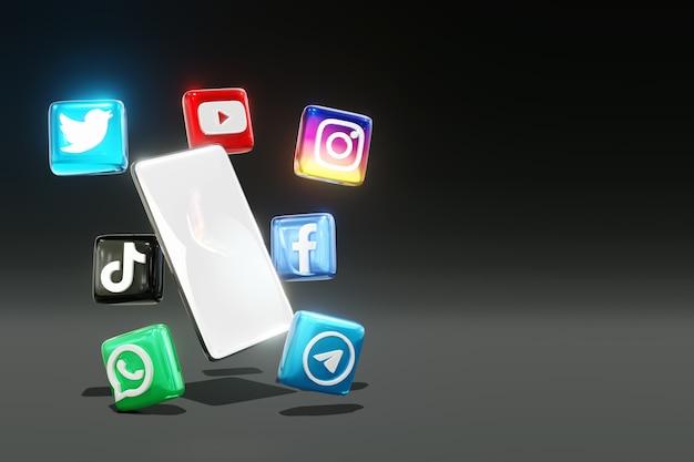 Logos de médias sociaux brillants 3d et téléphone avec fond sombre