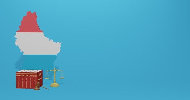 Loi luxembourgeoise pour l'infographie, contenu des médias sociaux en rendu 3d