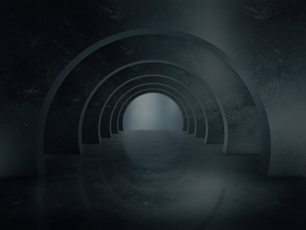 Long espace de structure de tunnel sombre.