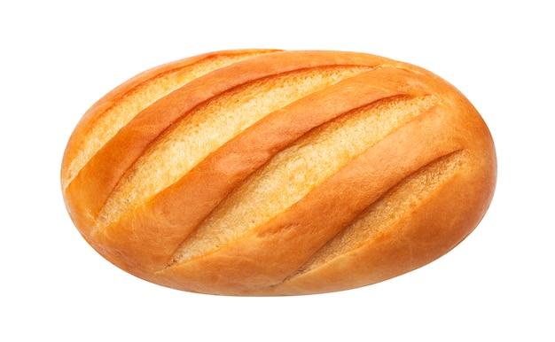 Long pain pain blanc isolé sur fond blanc, vue de dessus