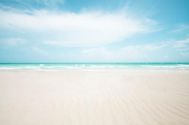 Long plan de la plage de sable tropicale