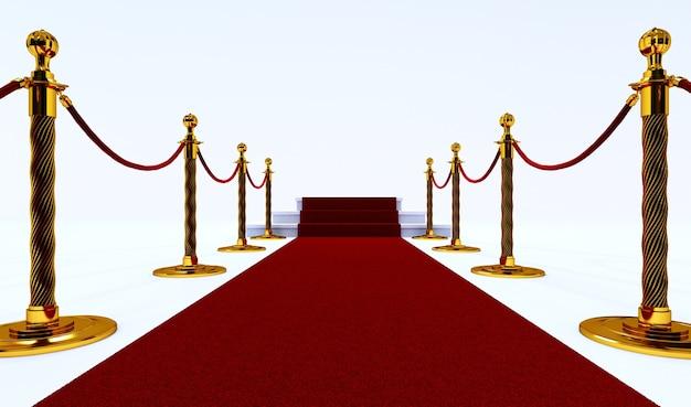 Long tapis rouge entre des barrières avec escalier à la fin