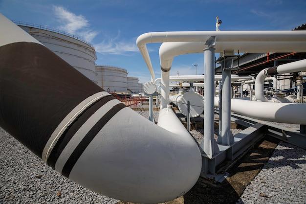 Longs tuyaux en acier et coude de tuyau dans l'usine de pétrole de la station pendant la raffinerie industrie de la pétrochimie dans la distillerie du site de gaz.
