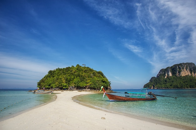 Longtail boat à la célèbre plage ensoleillée de long beach