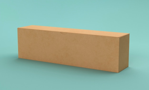 Longue boîte en carton marron sur fond bleu clair