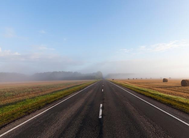Une longue et large route pavée dans un matin brumeux, automne