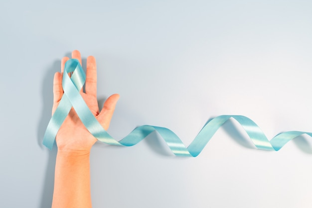 Longue queue de ruban bleu clair