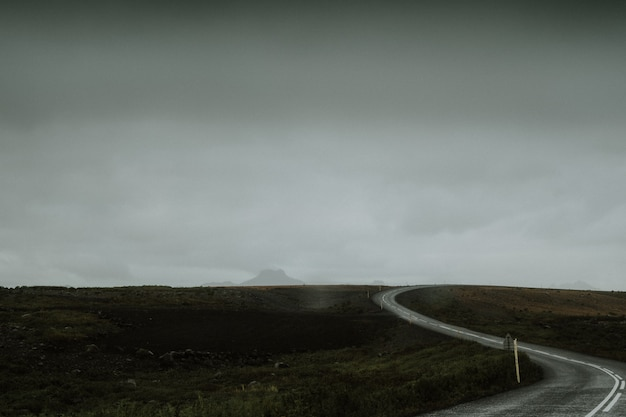 Longue route sinueuse au milieu d'un champ vert en islande
