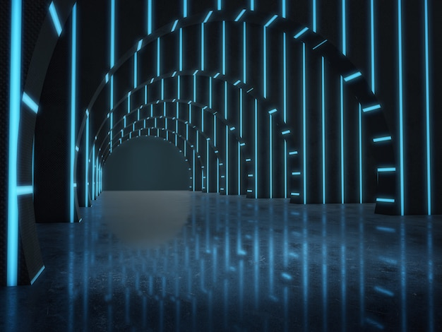 Longue structure de tunnel sombre avec des lumières qui brillent.