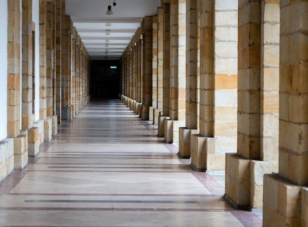 Longue traversée de nombreuses colonnes, effet d'infini. détails architecturaux des bâtiments.