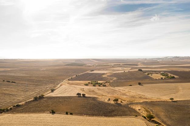 Longue vue de beaux champs et de récoltes prises par drone
