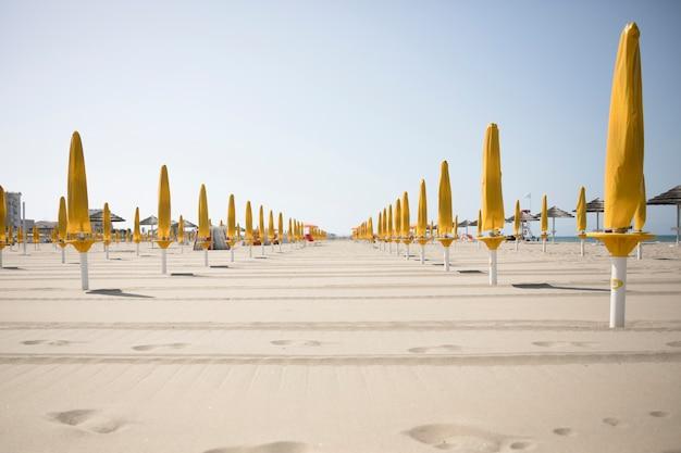 Longue vue de parapluies à la plage de la station
