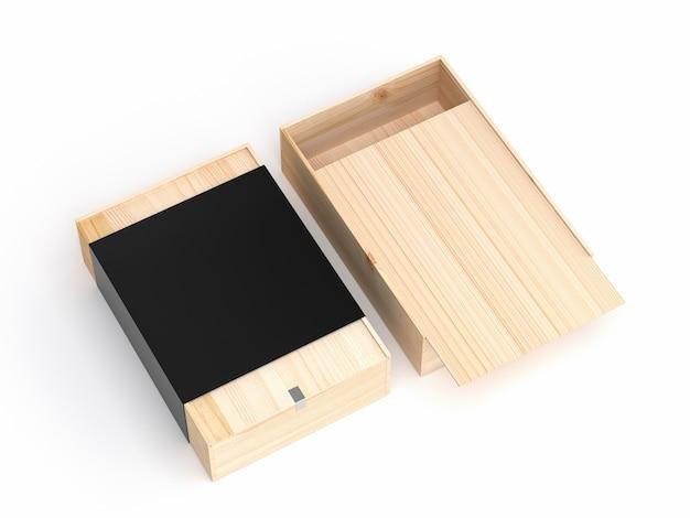 De longues boîtes en bois avec couvercle coulissant et emballage de couverture de papier noir supplémentaire ouvert et fermé pour la marque - rendu 3d isolé