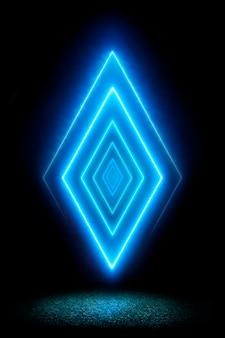 Losange bleu néon sur fond noir spectre ultraviolet, spectacle laser sur l'herbe