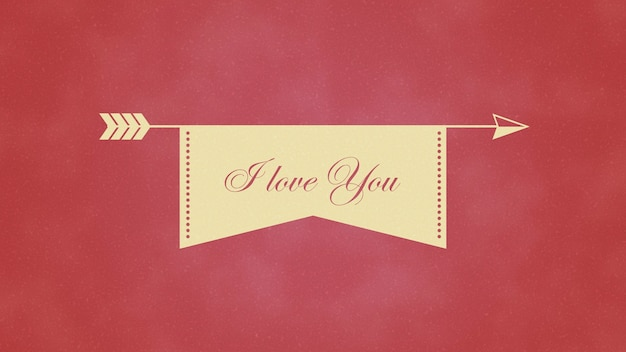 Ð¡loseup je t'aime texte et coeur de mouvement avec flèche sur fond de saint valentin. illustration 3d de style dynamique de luxe et élégant pour les vacances
