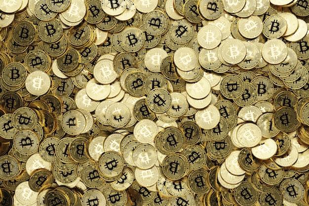 Lot de bitcoins dorés, 3d