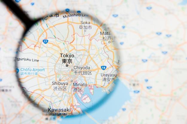 Loupe sur la carte du japon