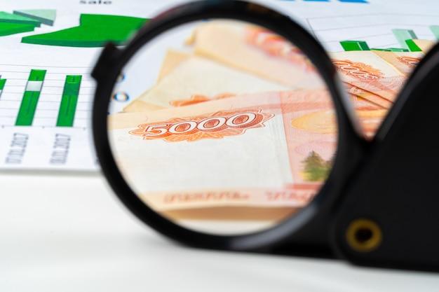 Loupe sur les roubles de la monnaie russe