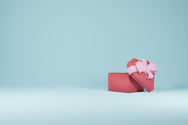 Love gift box valentine'e day design concept en fond bleu - rendu 3d