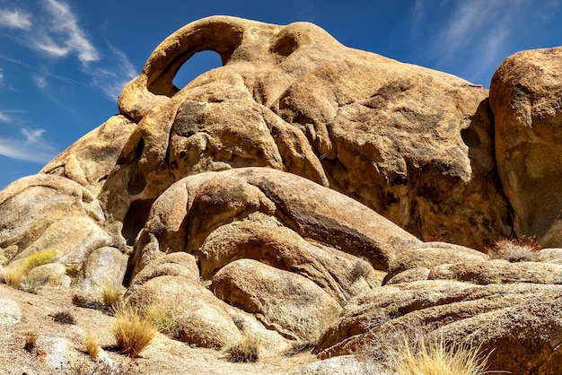 Low angle view of rock formations in alabama hills, californie