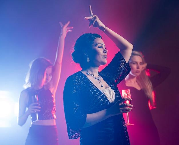 Low angle woman dancing