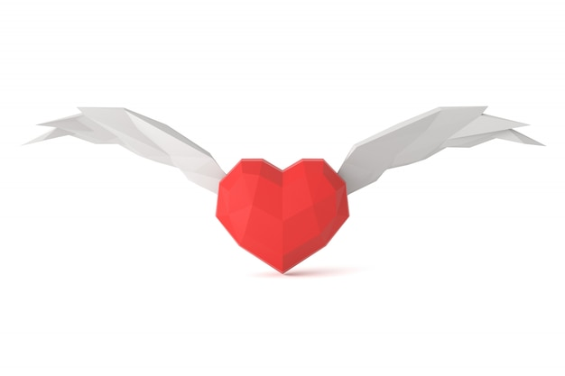 Low poly coeur sur fond blanc.