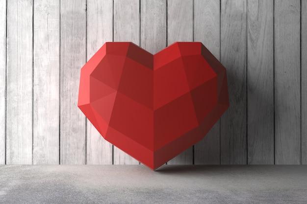 Low poly coeur sur le mur.