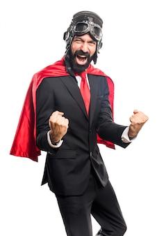 Lucky super hero businessman