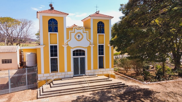 Luís antonio sã£o paulo brésil - 09 août 2021 : église paroissiale de santa luzia dans la ville de luís antonio sp