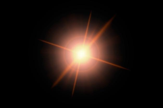 Lumière flare abstraite sur une surface noire