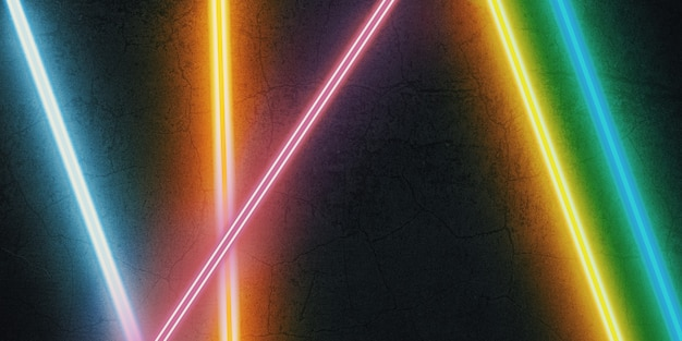 Lumière laser multicolore brillant sur une illustration 3d de fond de pierre noire
