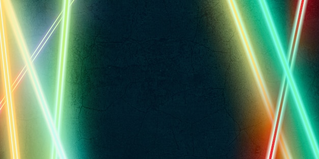 Lumière Laser Multicolore Brillant Sur Une Illustration 3d De Fond De Pierre Noire Photo Premium