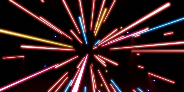 Lumière laser multicolore néon sur fond noir illustration 3d