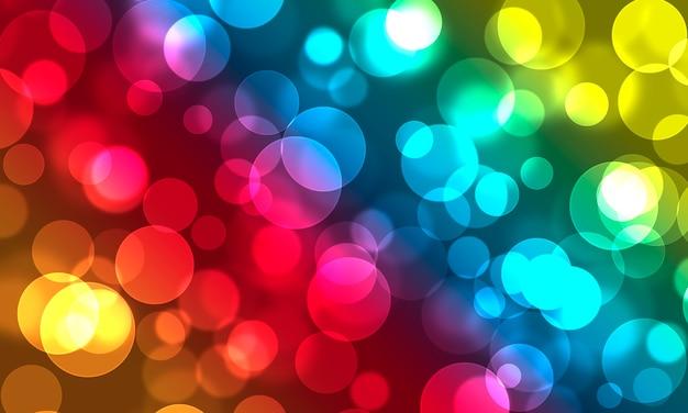 Lumières abstraites de bokeh d'arrière-plan flou coloré lumineux