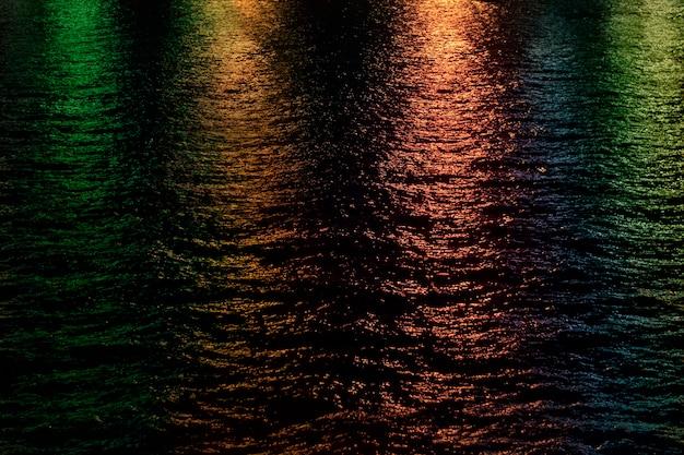 Lumières abstraites se reflétant sur l'eau la nuit.