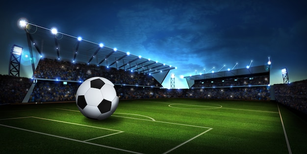 Lumières au stade avec ballon de foot. fond de sport. rendu 3d