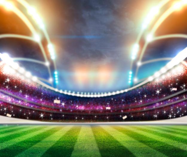 Lumières dans la nuit et le rendu 3d du stade