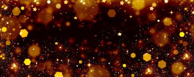 Lumières dorées sur fond noir, arrière-plan flou de bokeh festif avec des lumières rougeoyantes et des étoiles