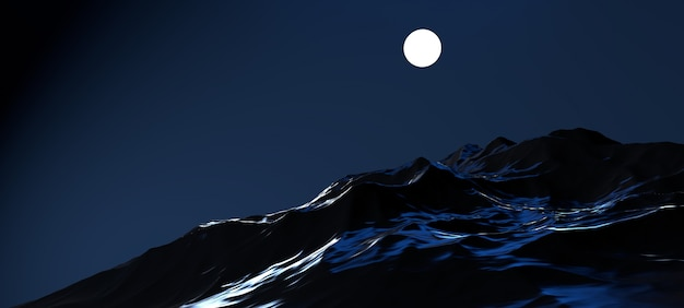 Lune dans la nuit avec l'image des montagnes