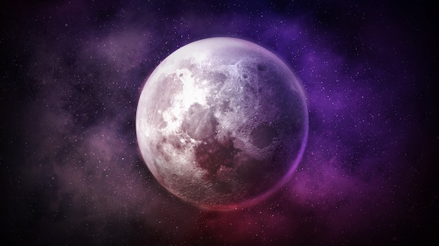 Lune fantastique sur fond d'espace coloré.