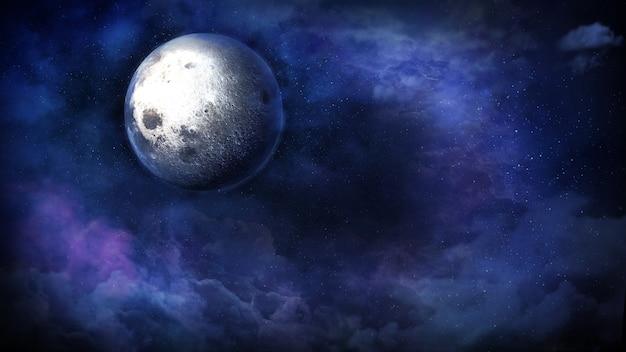 Lune fantastique parmi les nuages sur une nuit étoilée d rendu