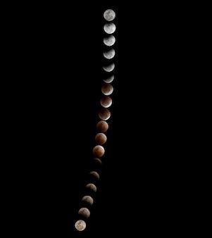 Lune De Sang Super Bleue, éclipse Lunaire Totale Et Pile De Phase De Traînée Photo Premium