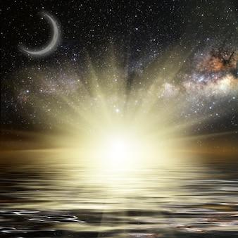 Lune et soleil sur un ciel étoilé de fond reflété dans la mer. éléments de cette image fournis par la nasa
